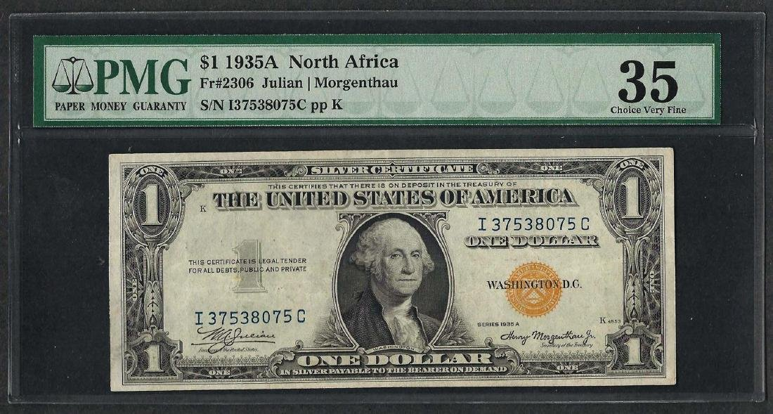 1935A $1 North Africa Silver Certificate WWII Emergency