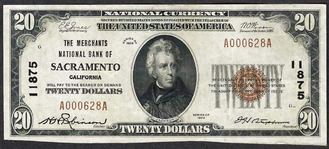 1929 $20 The Merchants National Bank of Sacramento