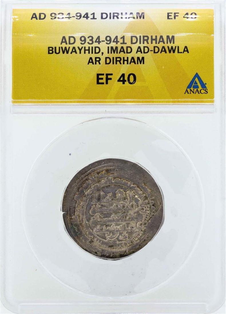 AD 934-941 Dirham Buwayhid Imad AD-Dawla Coin ANACS