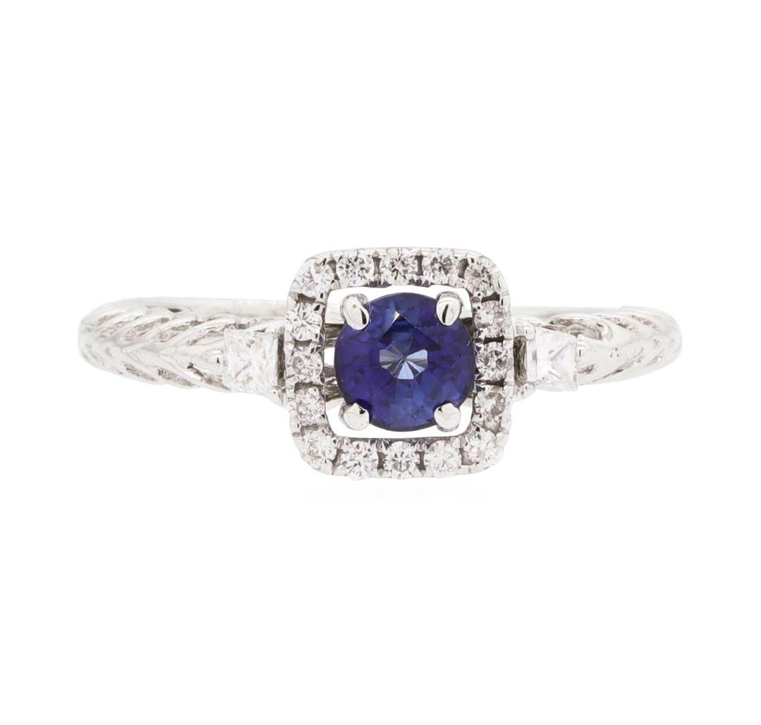 14KT White Gold Lady's 0.64 ctw Sapphire and Diamond