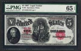 1907 $5 Woodchopper Legal Tender Note Fr.91 PMG Gem