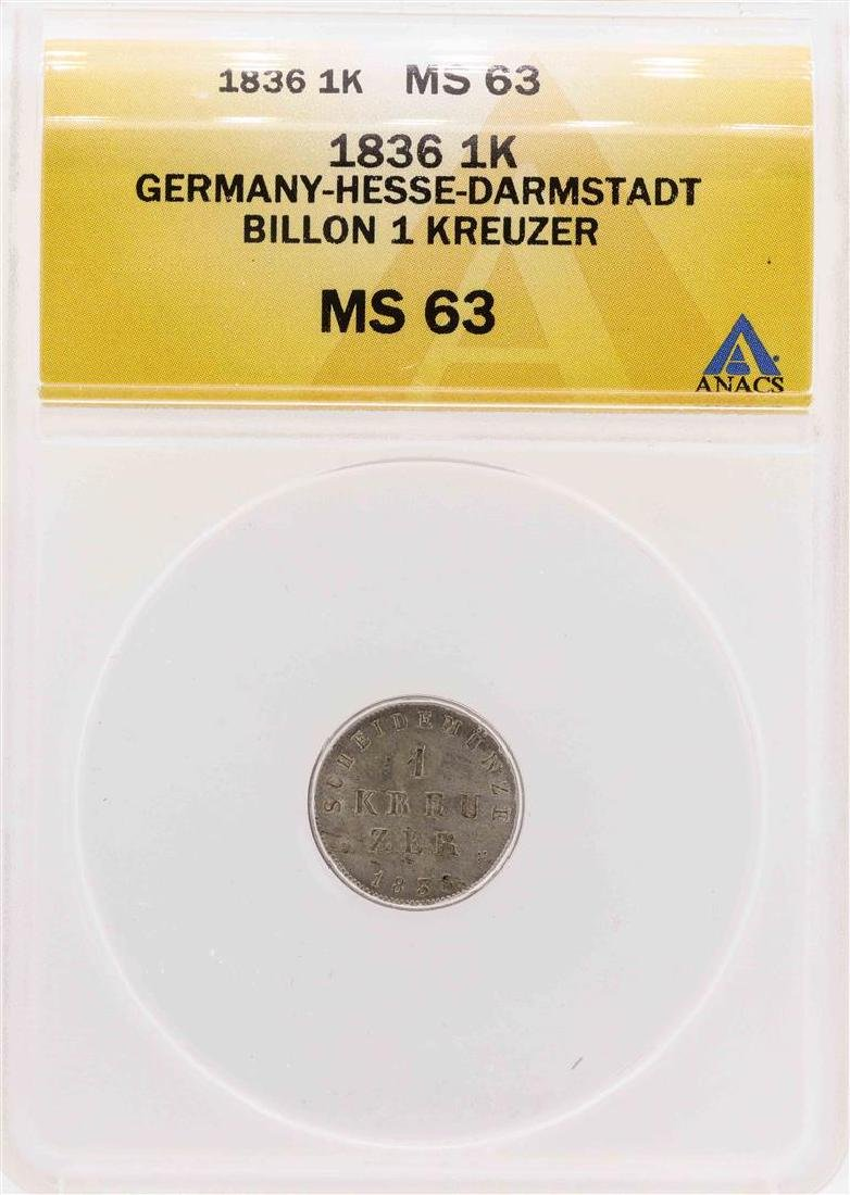 1836 Germany-Hesse-Darmstadt Billion Kreuzer Coin ANACS