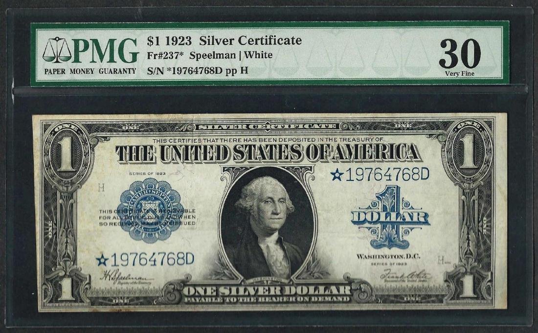 1923 $1 Silver Certificate STAR Note Fr.237* PMG Very