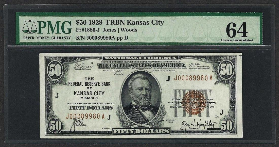 1929 $50 Federal Bank of Kansas City Note Fr.1880-J PMG