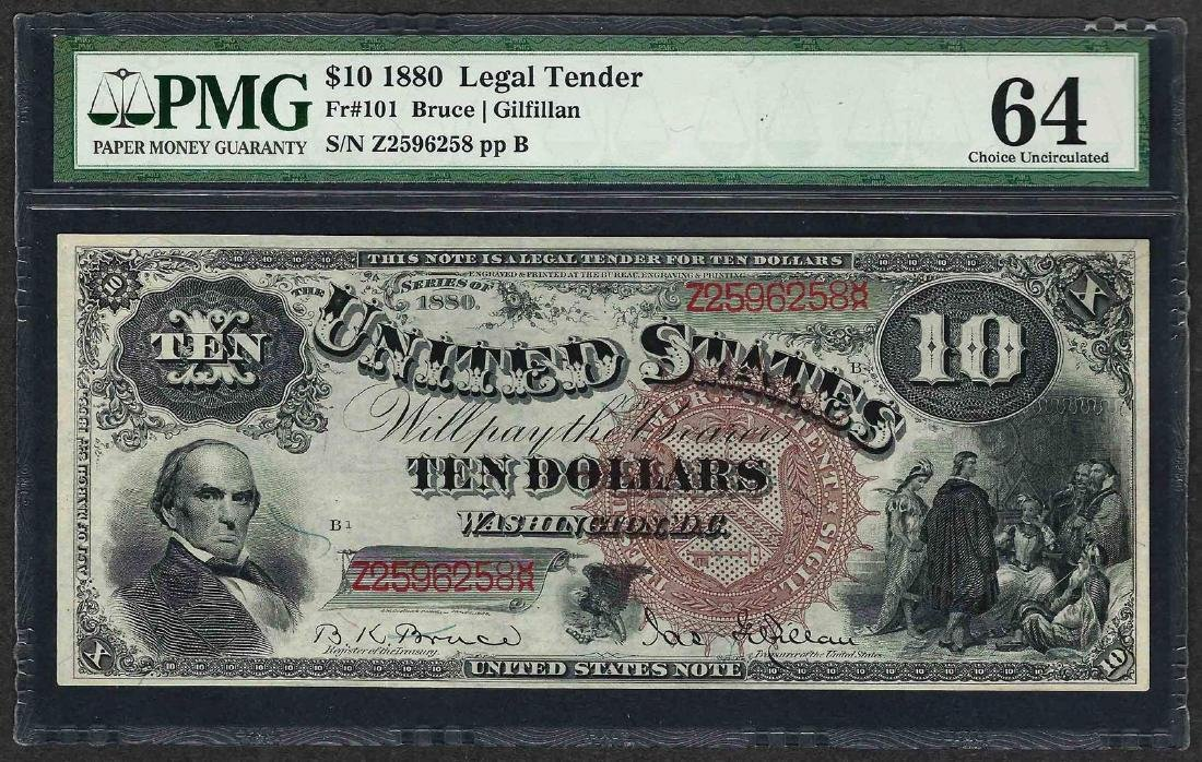 1880 $10 Jackass Legal Tender Note Fr.101 PMG Choice