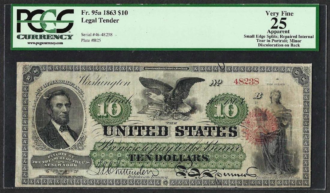1863 $10 Legal Tender Note Fr.95a PCGS Very Fine 25