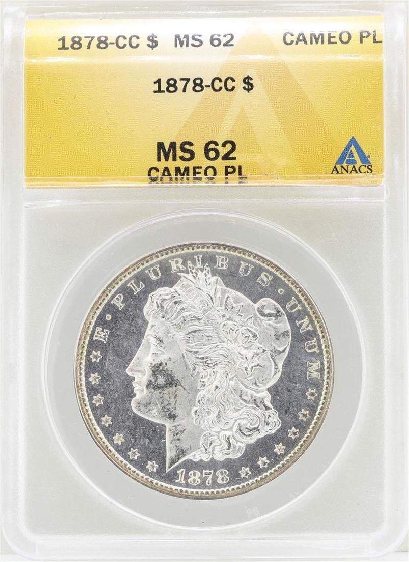 1878-CC $1 Morgan Silver Dollar Coin ANACS MS62 Cameo
