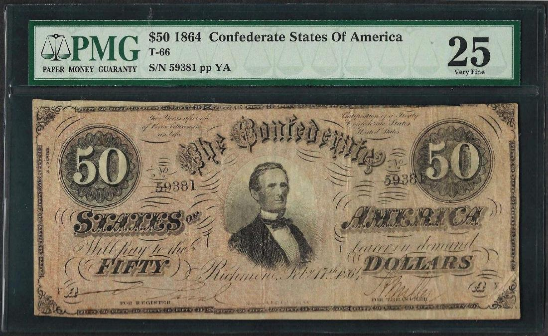 1864 $50 Confederate States of America Note T-66 PMG