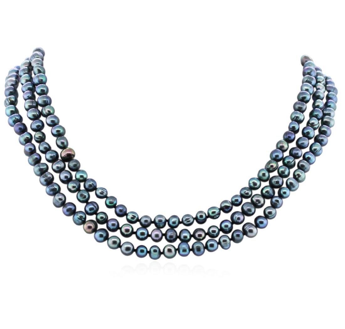 6.5-7.5MM Dark Coral Pearl Necklace