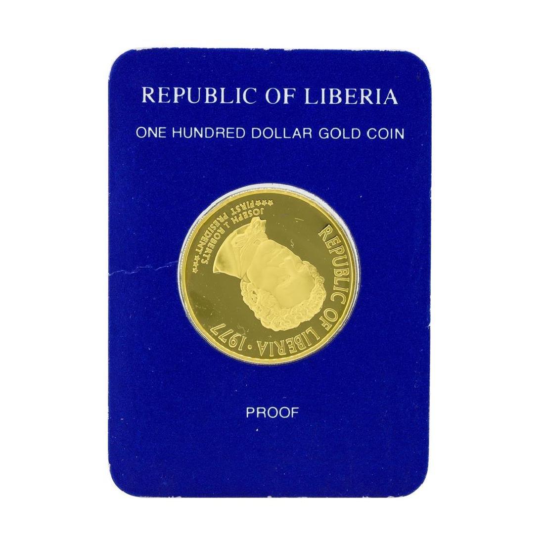 1977 Republic of Liberia $100 Gold Proof Coin