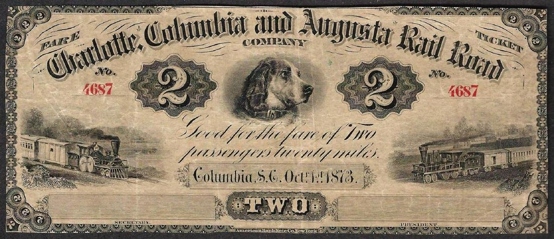 1873 $2 Charlotte Columbia and Augusta Rail Road