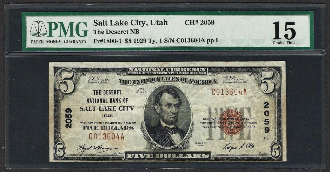 1929 $5 National Currency Note Salt Lake City, Utah CH#
