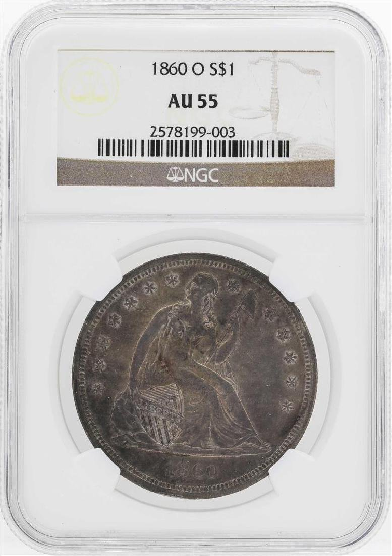 1860-O $1 Seated Liberty Dollar Coin NGC AU55