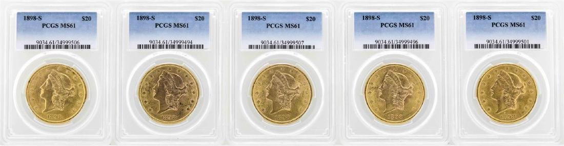 Lot of (5) 1898-S $20 Liberty Head Double Eagle Gold