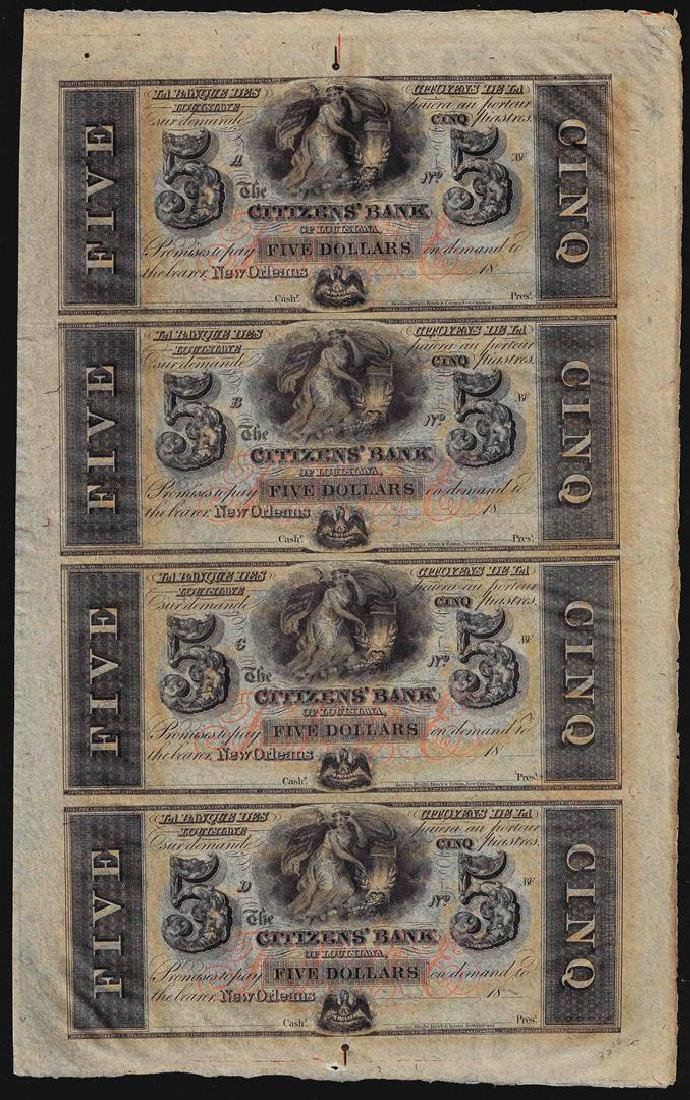 Uncut Sheet of $5 Citizens Bank of Louisiana Obsolete