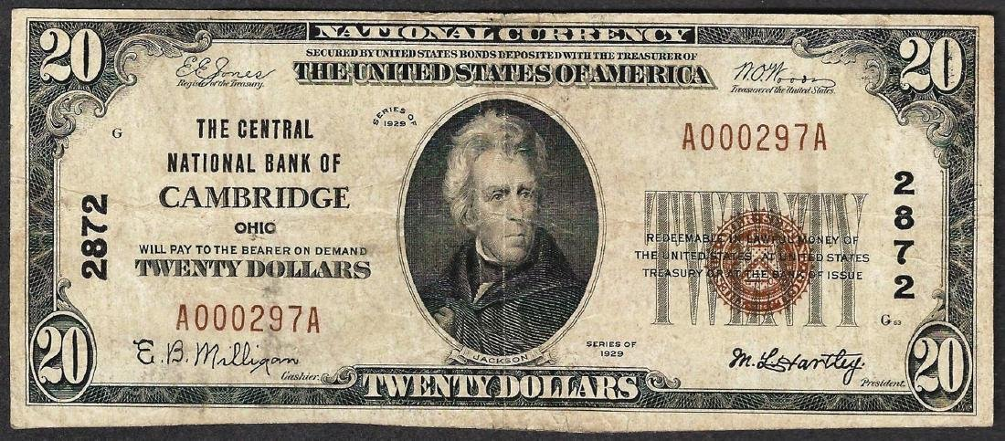 1929 $20 Central National Bank of Cambridge Currency