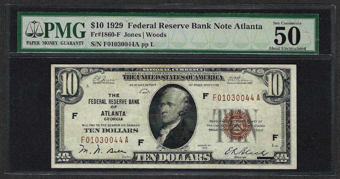 1929 $10 Federal Bank of Atlanta Fr.1860-F Note PMG