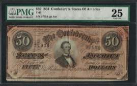 1864 50 Confederate States of America Note T66 PMG