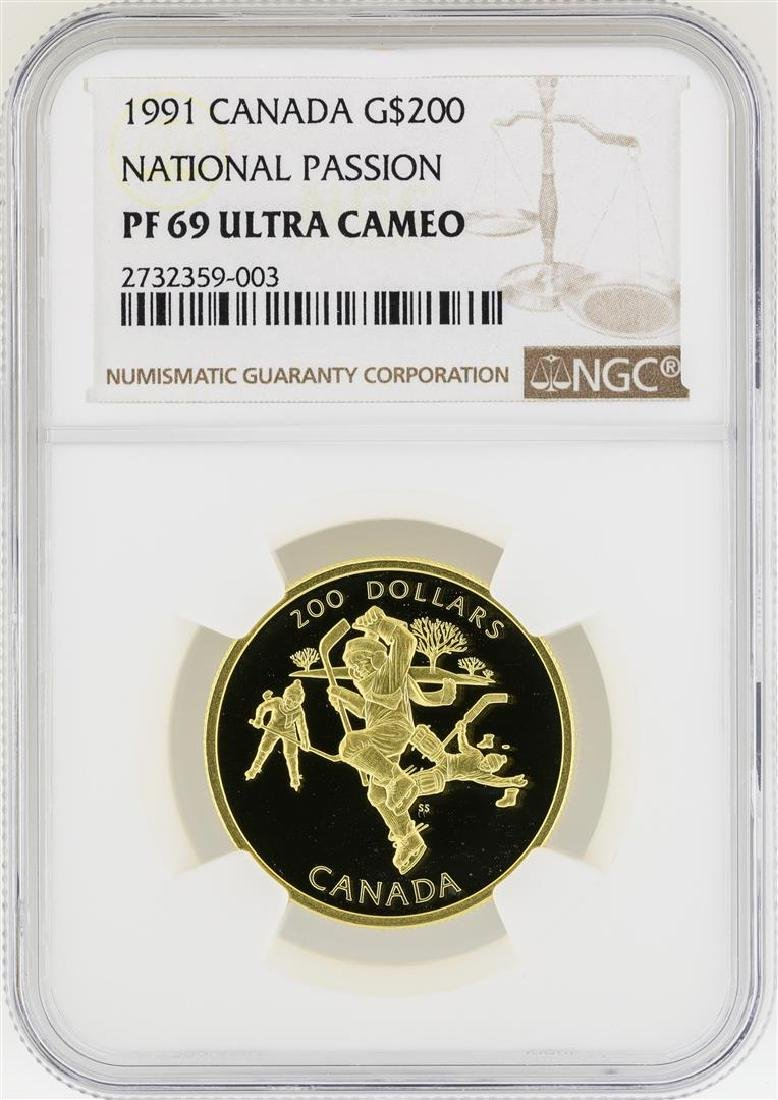 1991 Canada $200 National Passion Gold Coin  NGC PF69