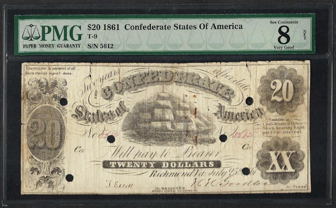 1861 $20 Confederate States of America Note T-9 PMG