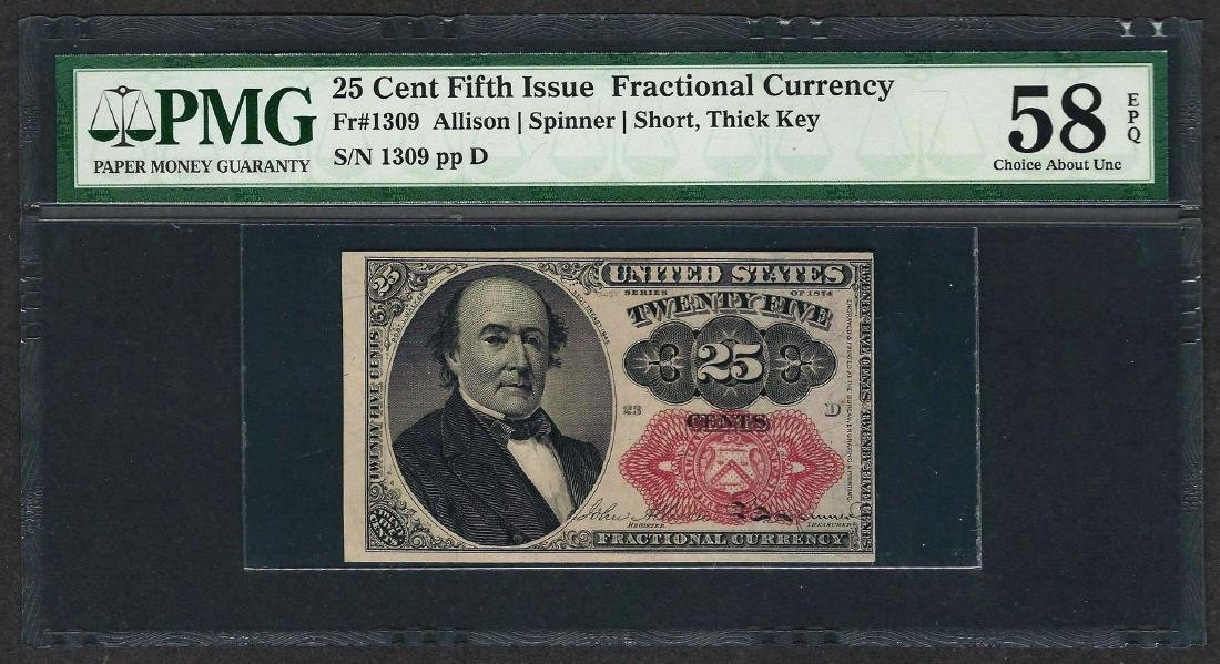 1874 25 Cent Fifth Issue Fractional Currency Note PMG