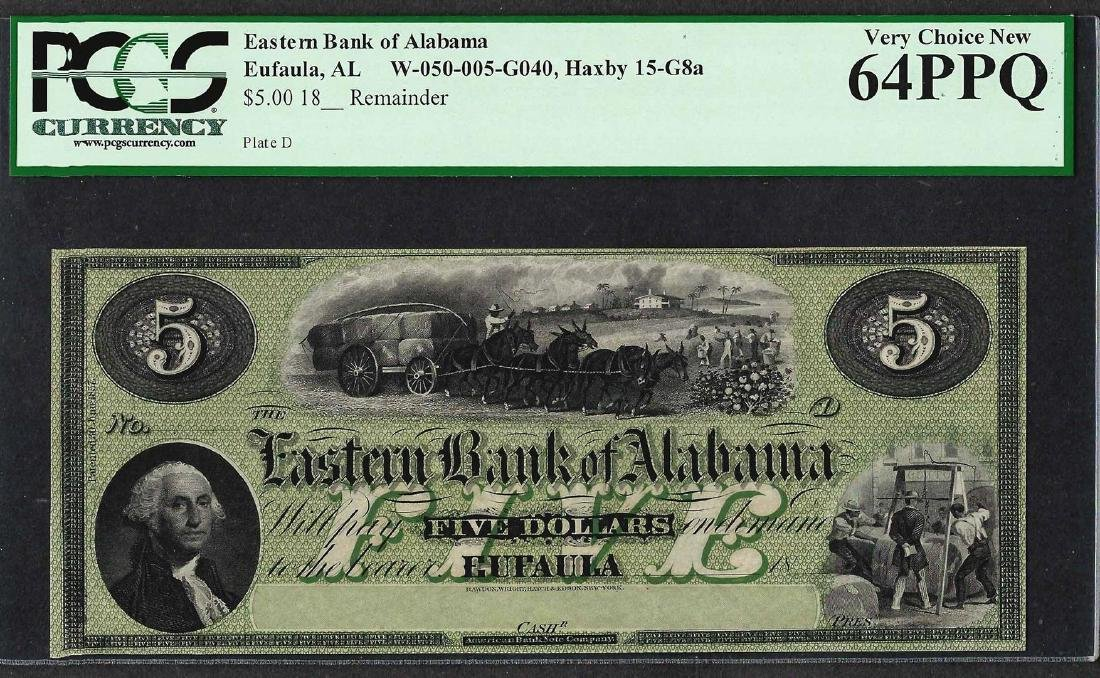 1800's $5 The Eastern Bank of Alabama Obsolete Bank