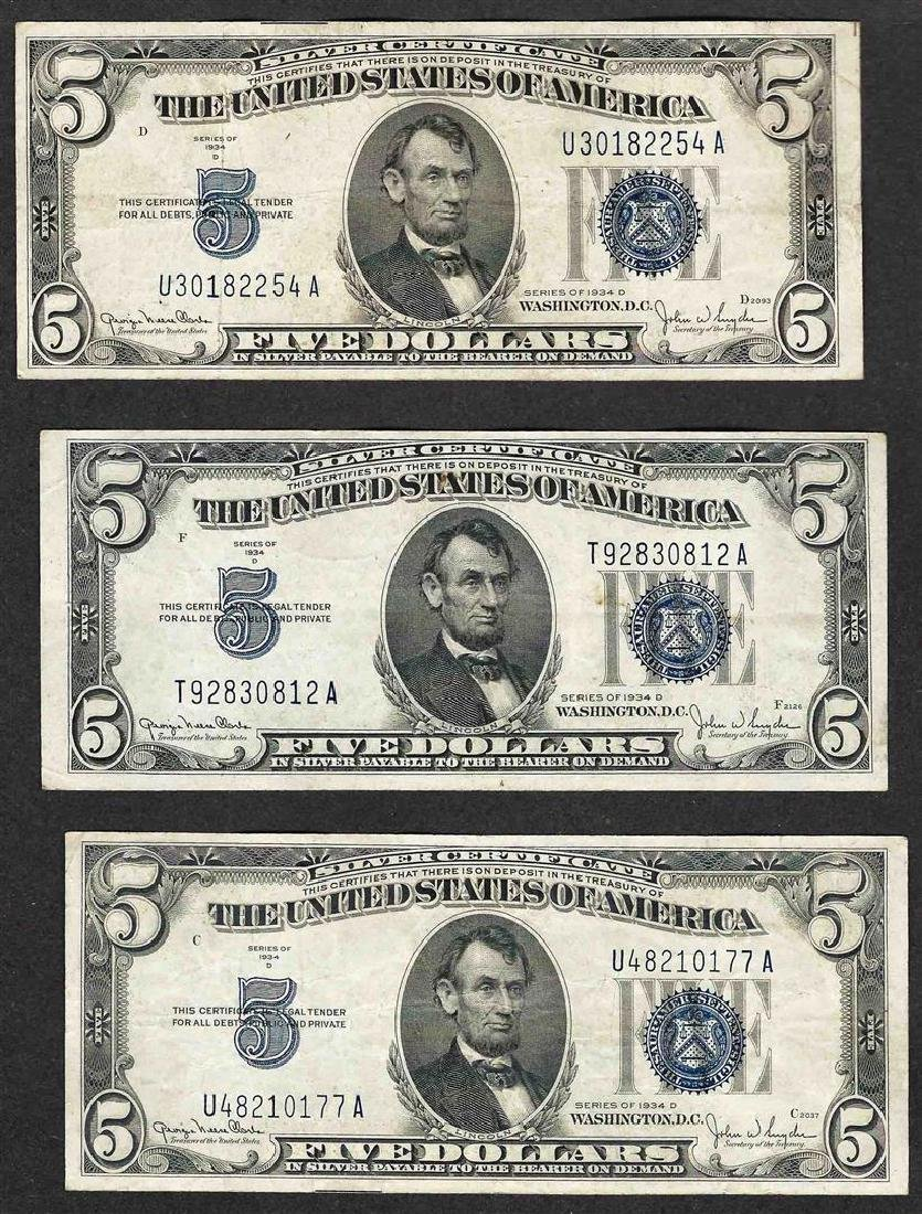 Lot of (3) 1934D $5 Silver Certificate Notes
