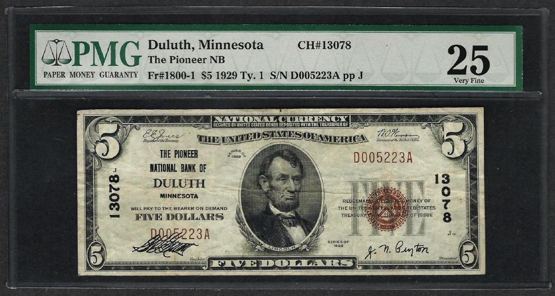 1929 $5 National Currency Note Duluth, Minnesota CH#