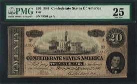 1864 20 Confederate States of America Note T67 PMG