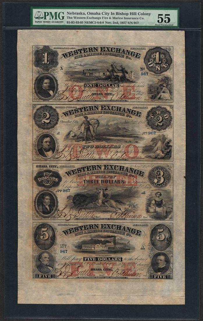 Uncut Sheet of $1/$2/$3/$5 Western Exchange Obsolete