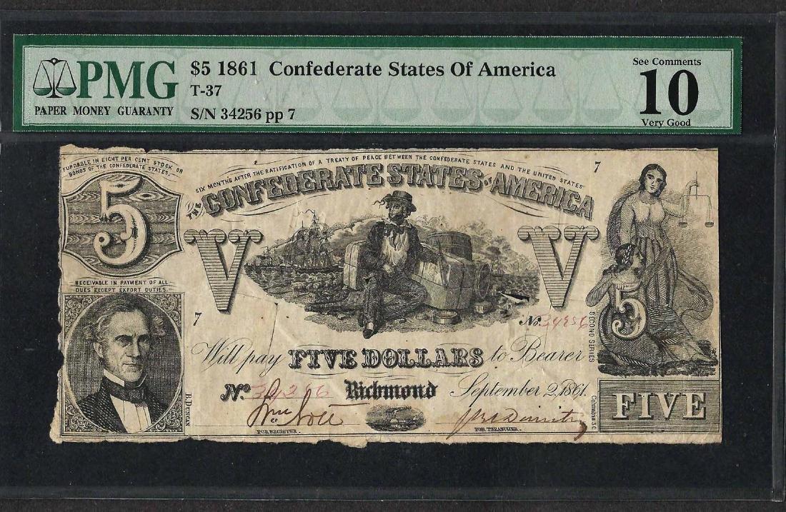 1861 $5 Confederate States of America Note T-37 PMG