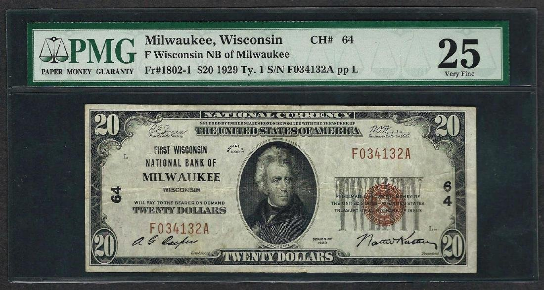 1929 $20 National Currency Note Milwaukee, Wisconsin