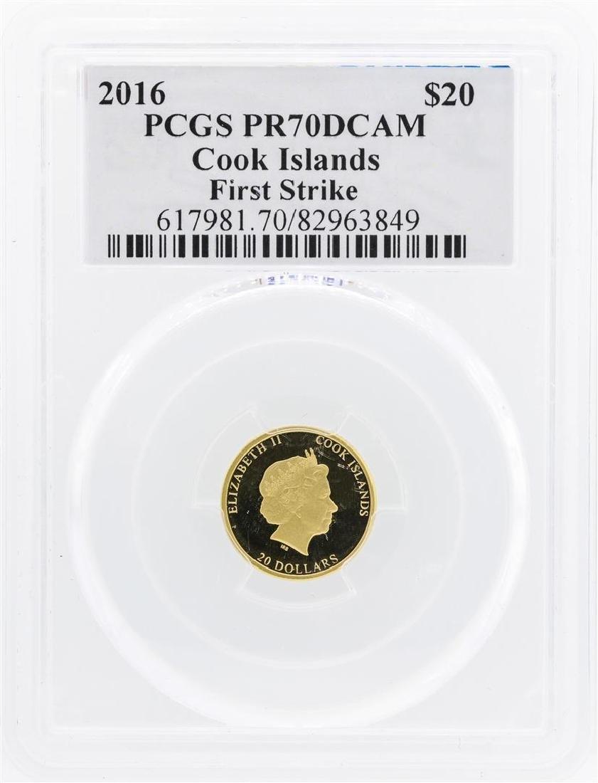 2016 $20 Cook Islands Gold Coin PCGS PR70DCAM First