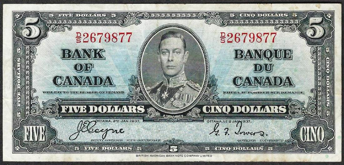 1937 $5 Bank of Canada Note