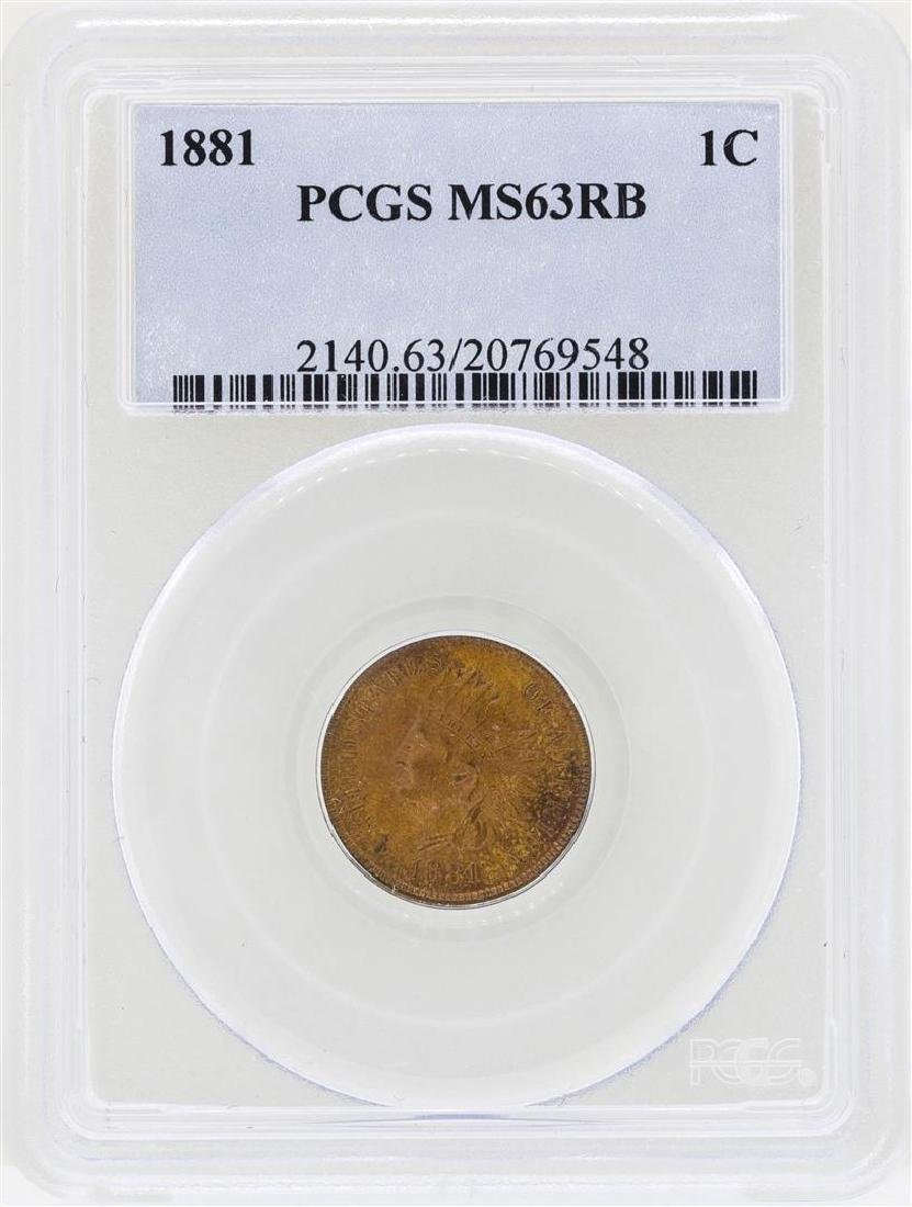 1881 Indian Head Penny Coin PCGS MS63RB