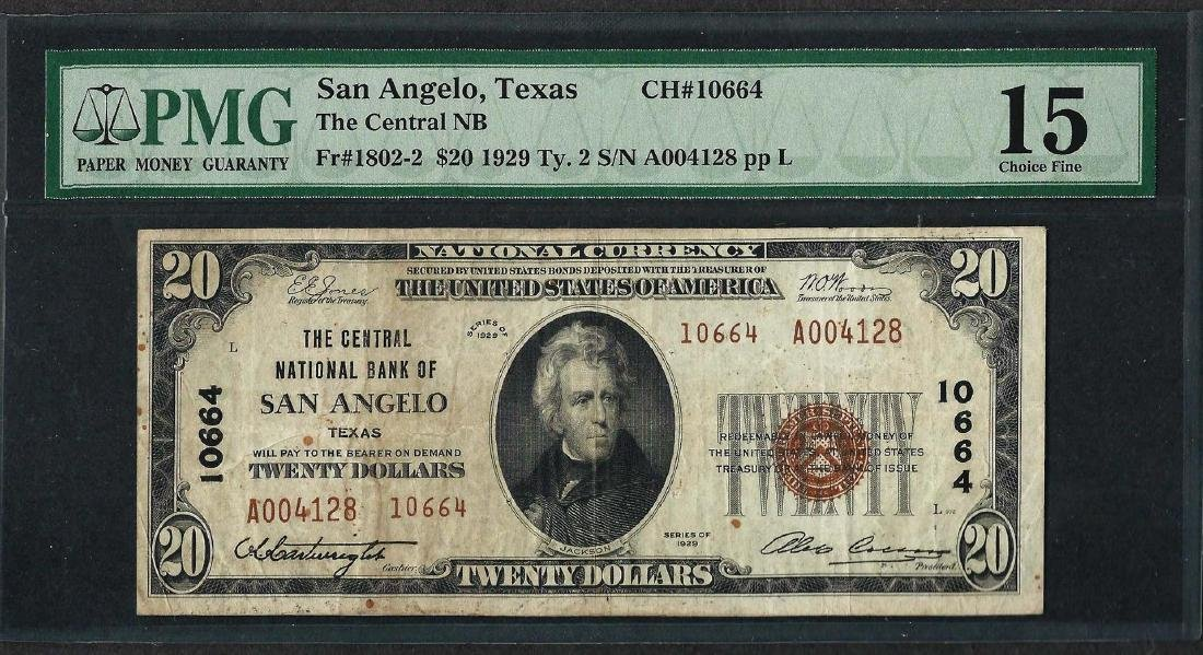1929 $20 National Currency Note San Angelo, TX CH#