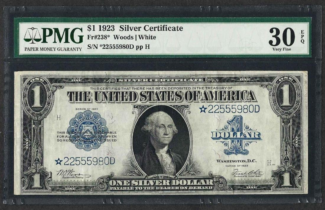 1923 $1 Silver Certificate STAR Note Fr.238* PMG Very
