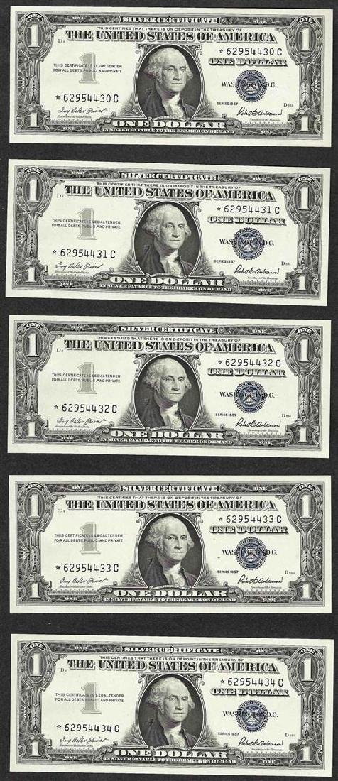 Lot of (5) Consecutive 1957 $1 Silver Certificate STAR