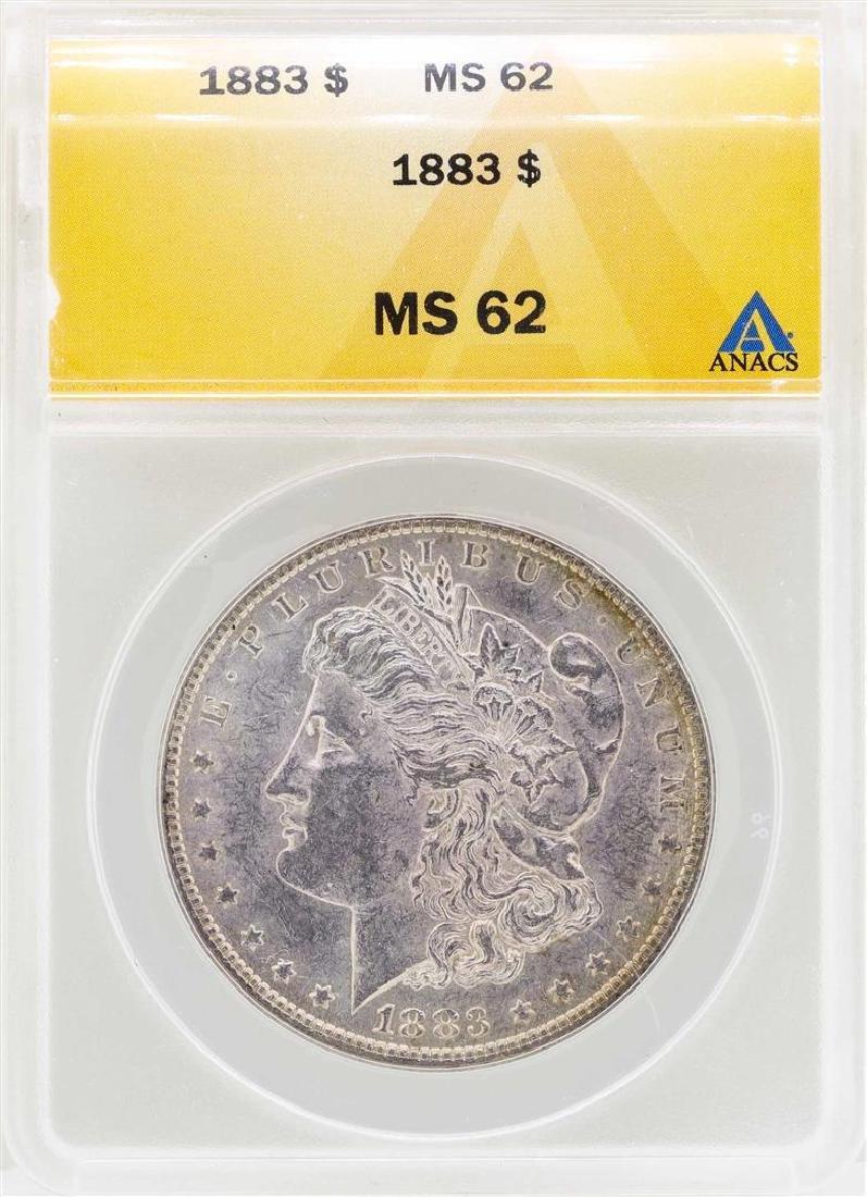 1883 $1 Morgan Silver Dollar Coin ANACS MS62