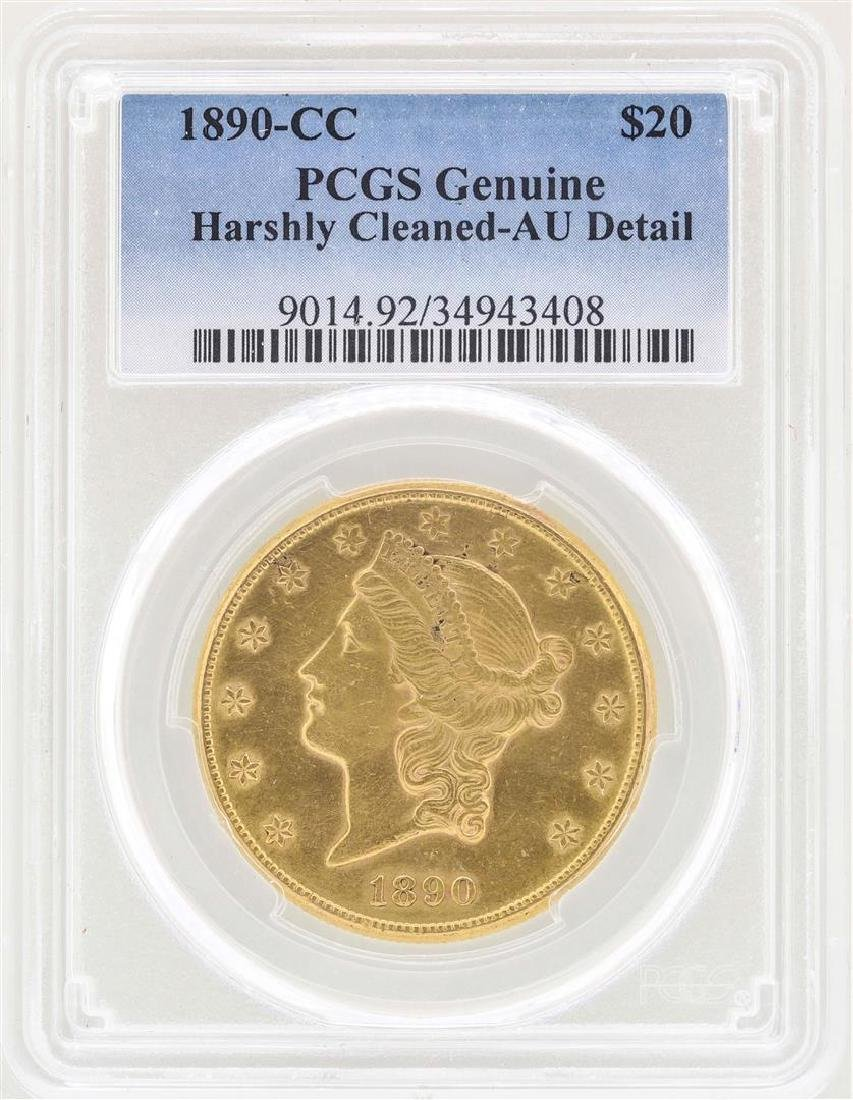 1890-CC $20 Liberty Head Double Eagle Gold Coin PCGS AU