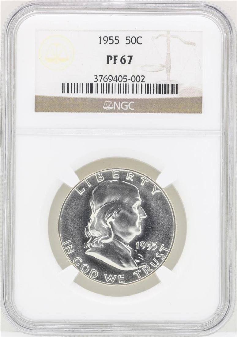 1955 Franklin Half Dollar Proof Coin NGC PF67