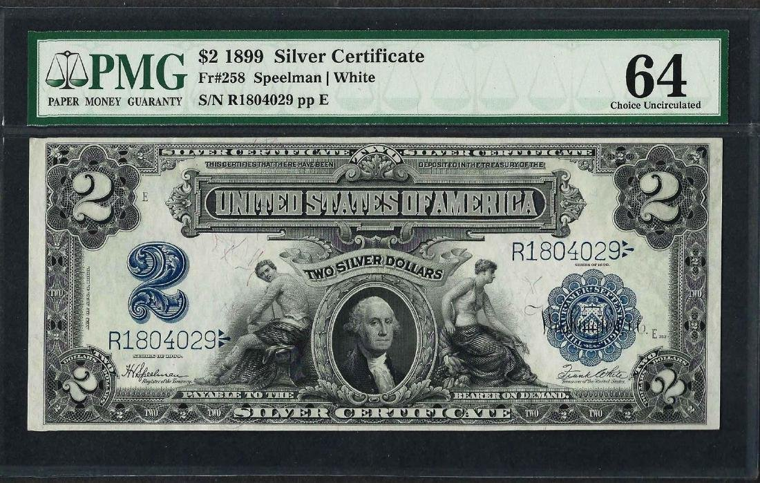 1899 $2 Mini-Porthole Silver Certificate Note Fr.258