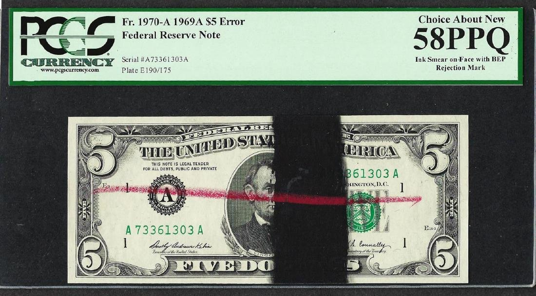 1969A $5 Federal Reserve Note ERROR Ink Smear & BEP
