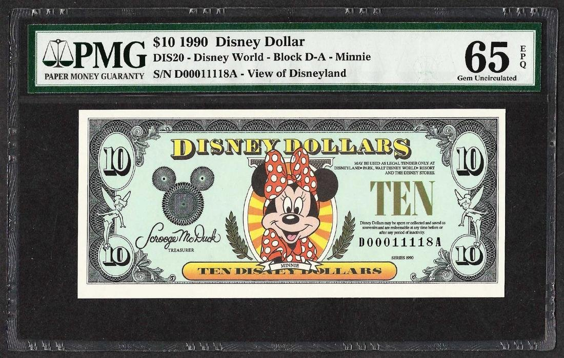 1990 $10 Disney Dollars Note PMG Gem Uncirculated 65EPQ
