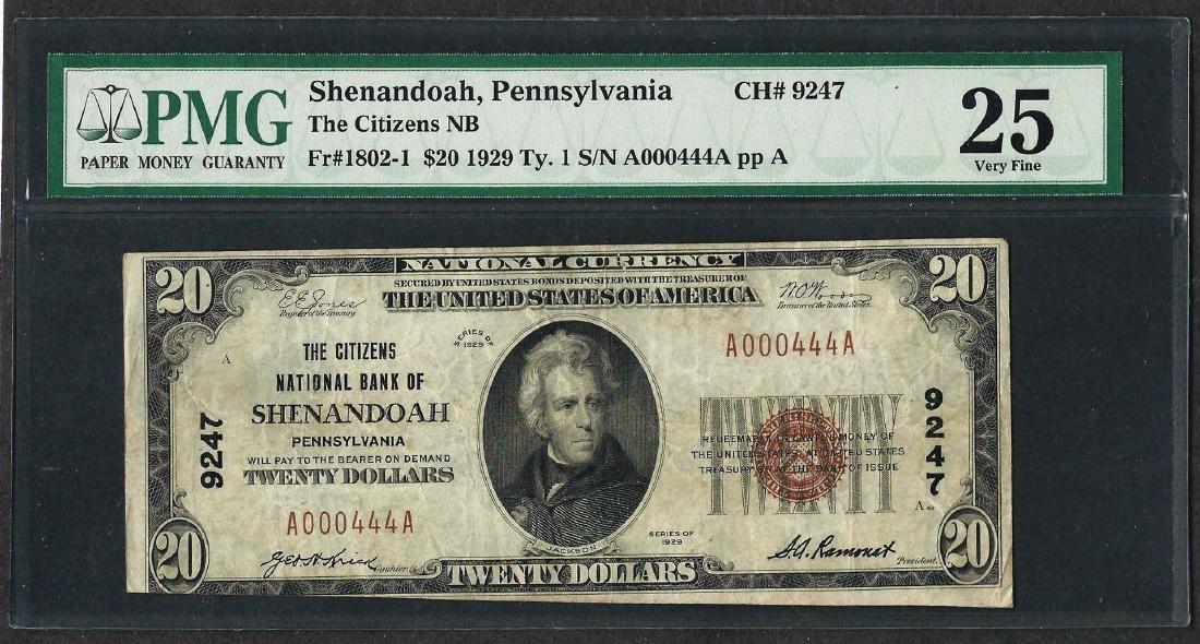 1929 $20 National Currency Note Shenandoah,