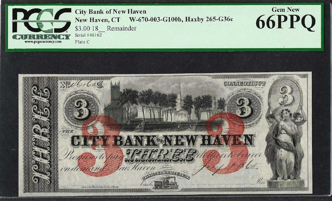 1865 $3 City Bank of New Haven Obsolete Note PCGS Gem