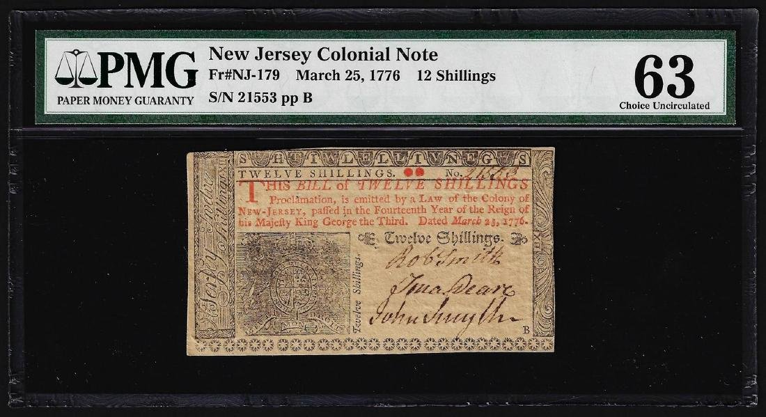 March 25, 1776 New Jersey 12 Shillings Colonial Note