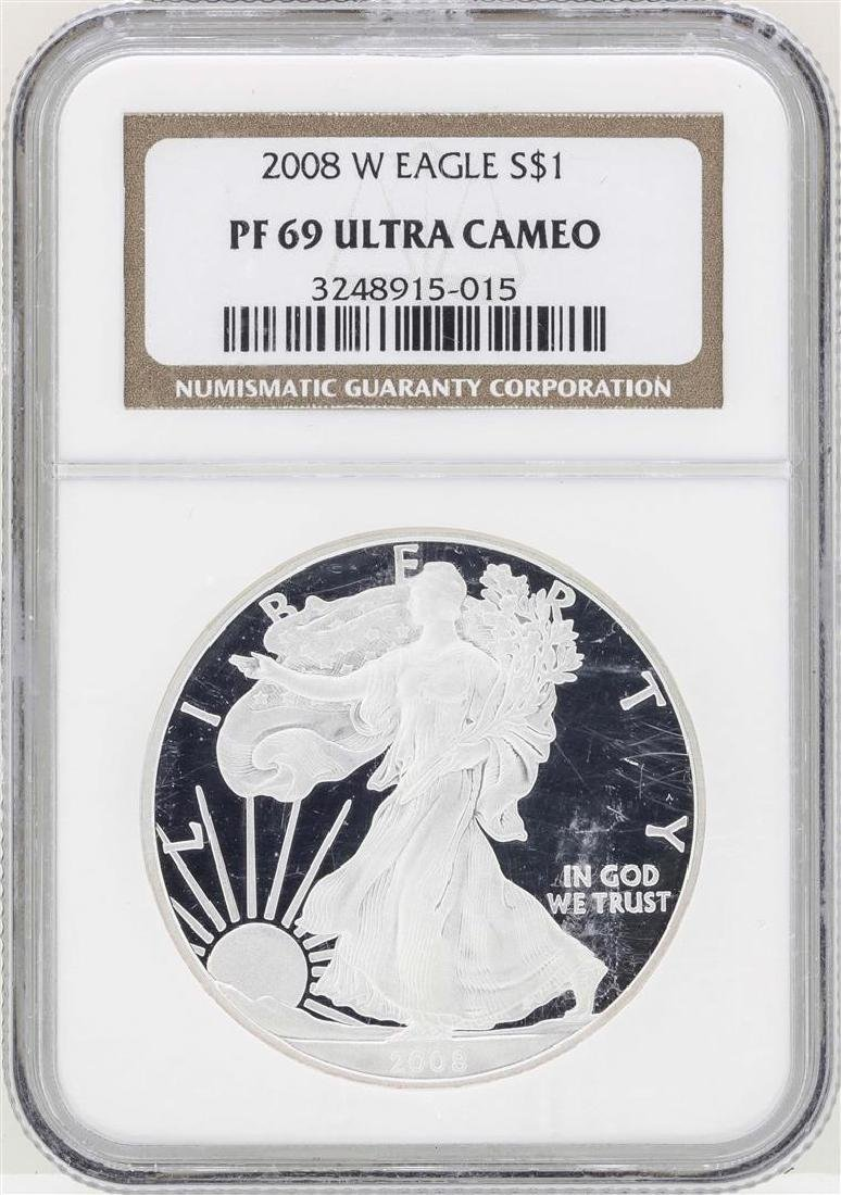 2008-W $1 American Silver Eagle Coin NGC PF69 Ultra