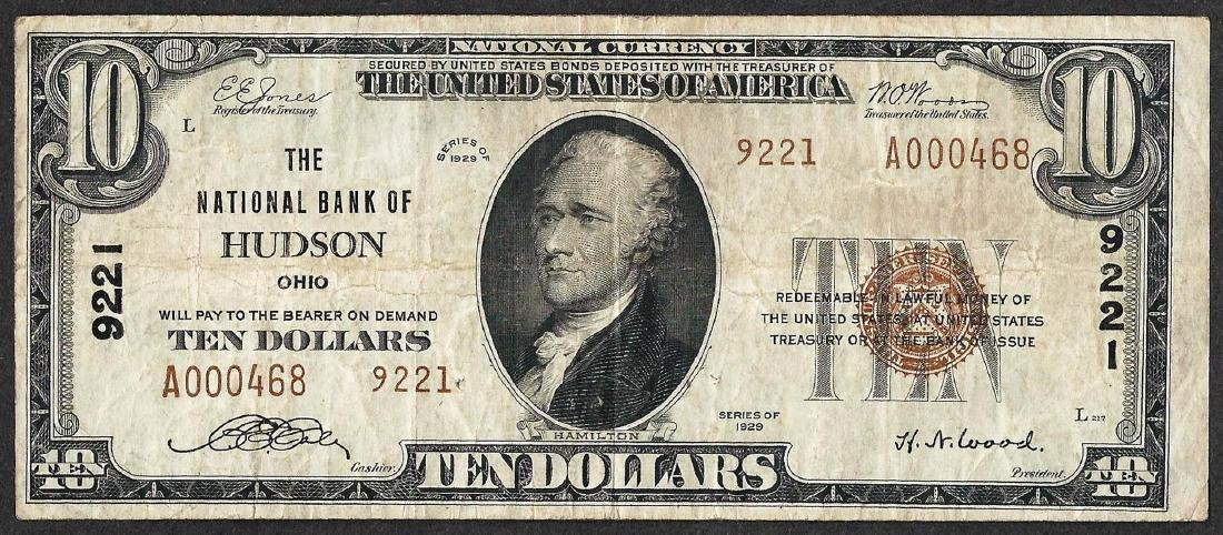1929 $10 National Currency Note Hudson, OH CH# 9221