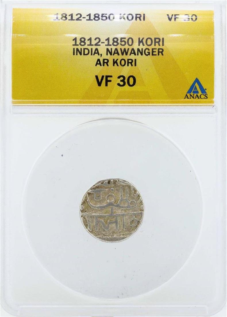 1812-1850 India Kori Nawanger Coin ANACS VF30